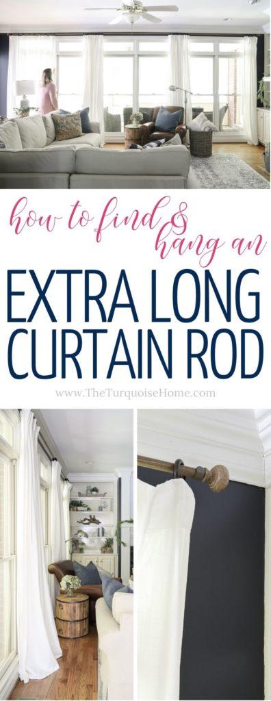hang an extra long curtain rod