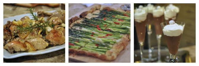 52 Sunday Suppers Menu 3: Roasted Chicken, Asparagus Tart & Chocolate Pudding