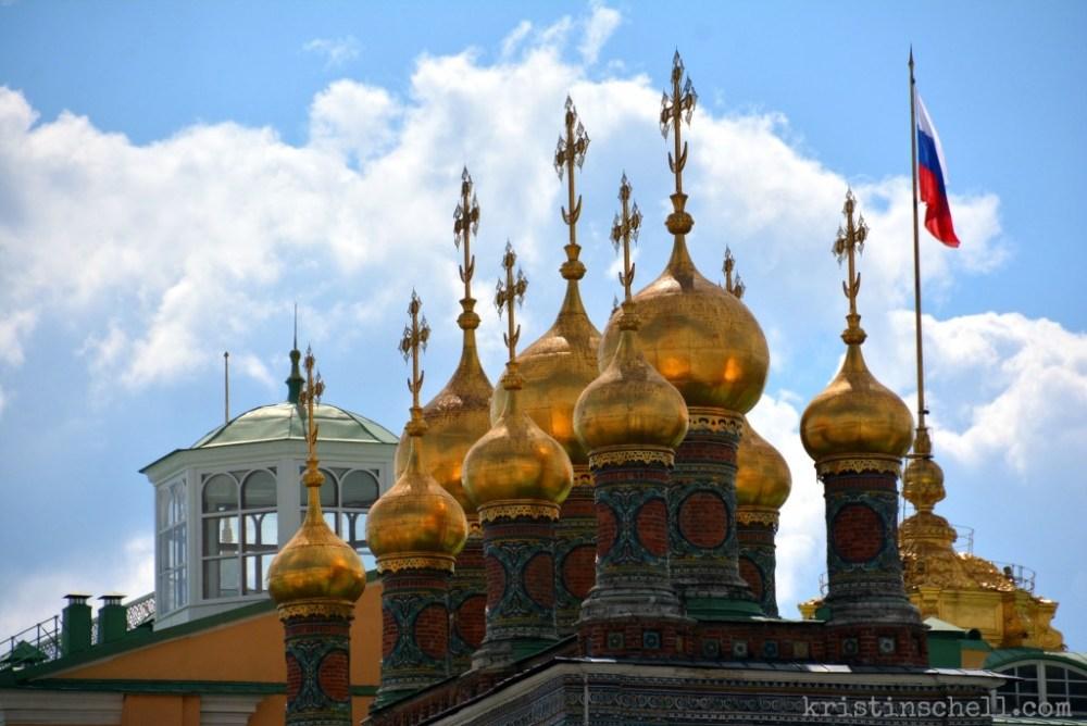 Golden Domes inside the Kremlin with Russian Flag  kristinschell.com