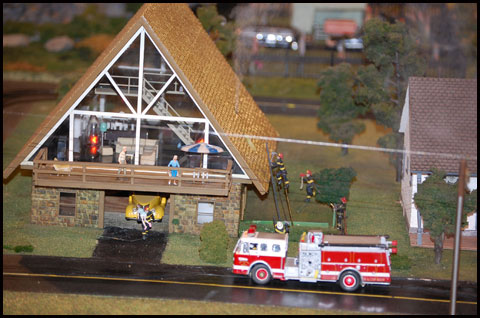Fire Scene at Choo Choo Barn