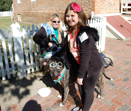 Meeting dogs in Colonial Williamsburg