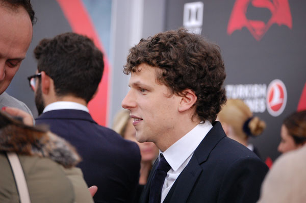 Jesse Eisenberg on the red carpet for the Batman vs. Superman premiere.