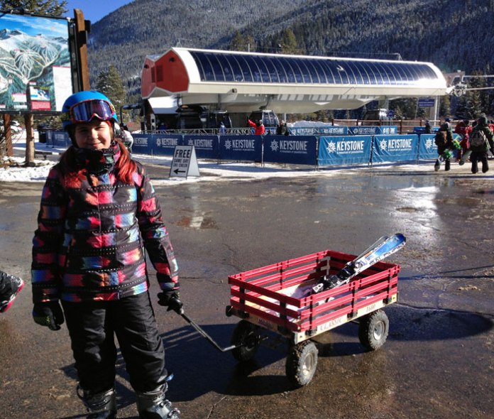 Love those little red wagons at Keystone Ski Resort!