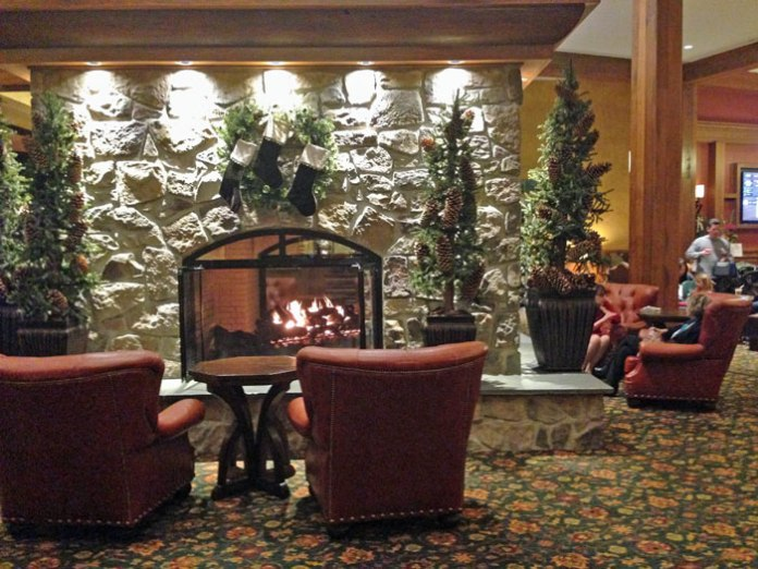 The cozy lobby of the Hershey Lodge in Hershey, PA