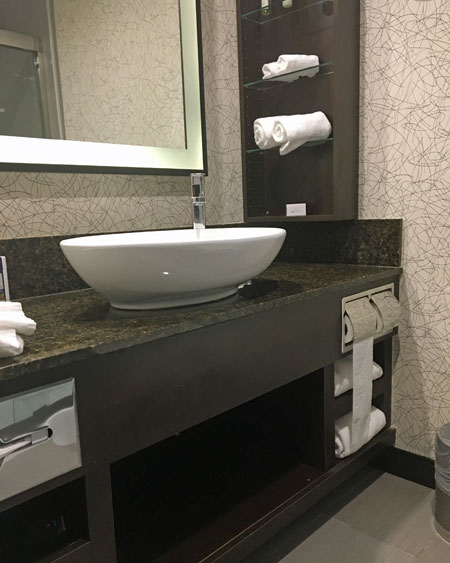 Vessel sink is just one of the boutique features at the Hills Hotel in southern California.