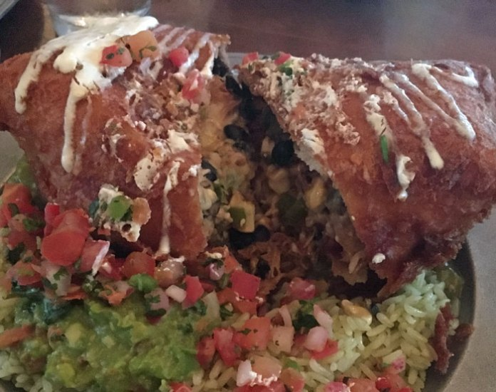 Giant chimichanga at Caliente restaurant in Kings Beach, CA.