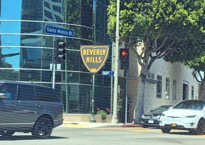 Driving down Santa Monica Boulevard in Beverly Hills.