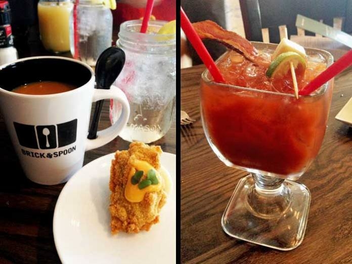 Deviled on the Bayou and a Bloody Mary - breakfast at Brick & Spoon in Orange Beach, AL.