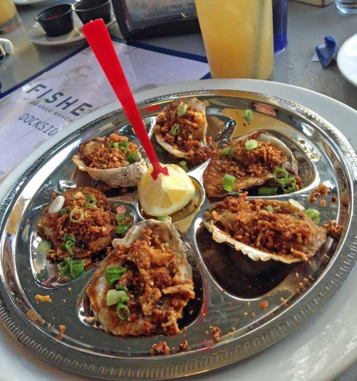 The Cajun roasted oysters at Fisher's Dockside were delicious!