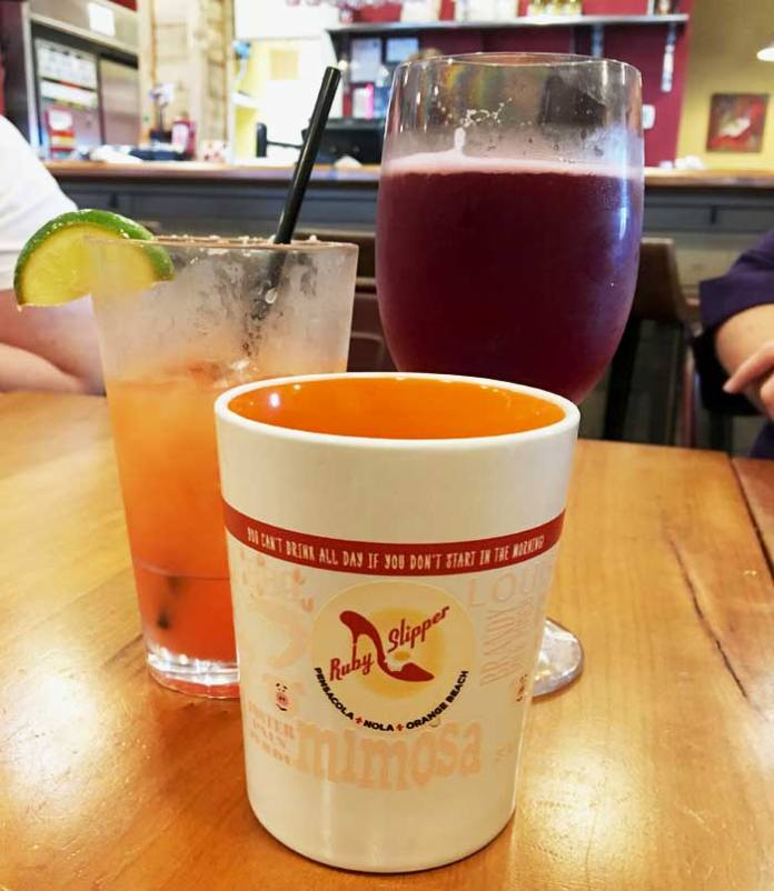 Breakfast cocktails at The Ruby Slipper Cafe in Orange Beach, AL.