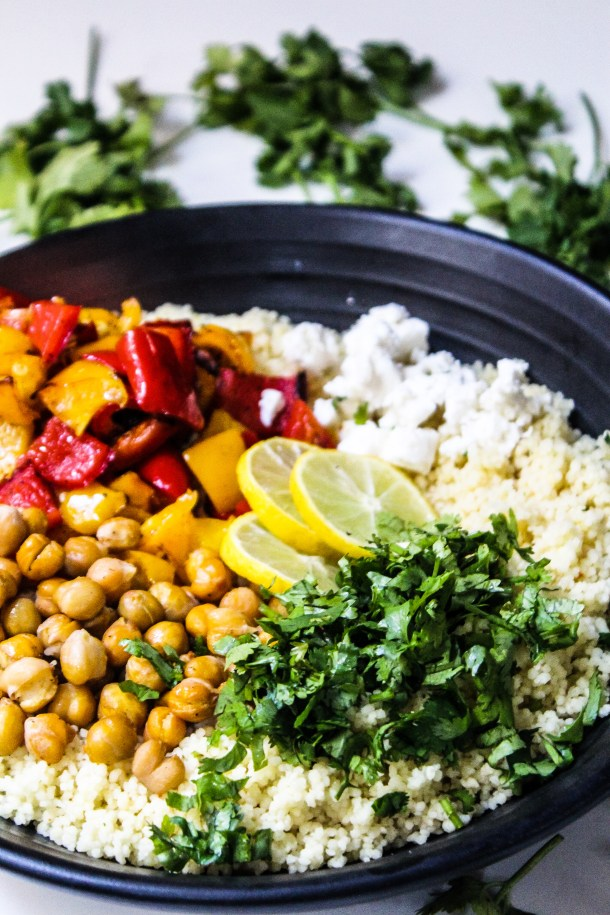 Couscous salad with roasted chickpeas