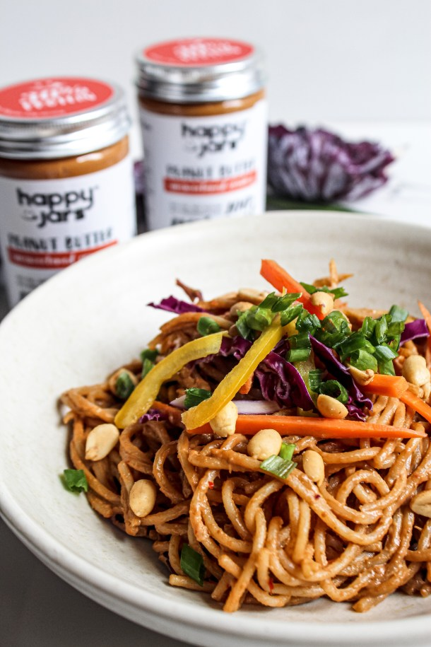 Asian noodle salad with peanut butter dressing