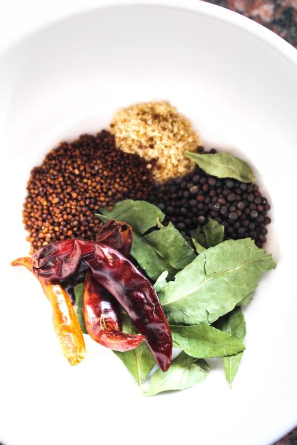 mustard seeds (rai, sarson, heeng (asafoetida) curry leaves, red chillies dries, kadhi patta