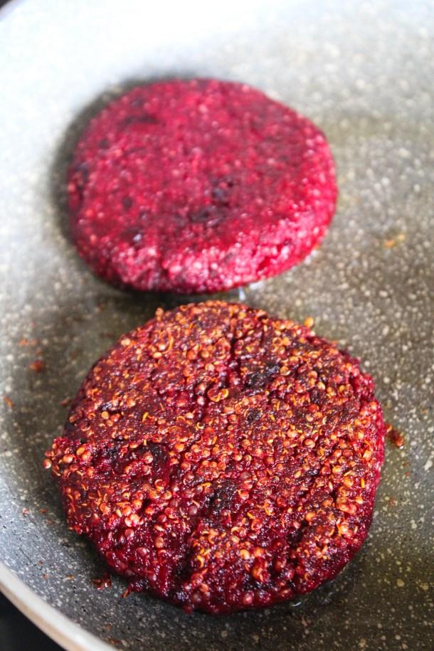 pink / purple beetroot quinoa patties