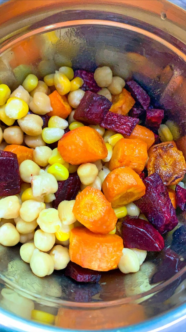 Roasted Beetroot, Corn, Carrots and Chickpea in a food processor