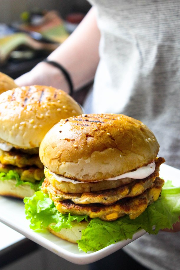 Mexican Corn Fritter Burgers with grilled pineapple
