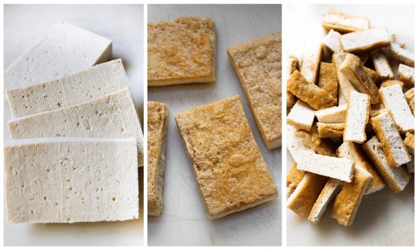 brown crispy tofu blocks cut in strips