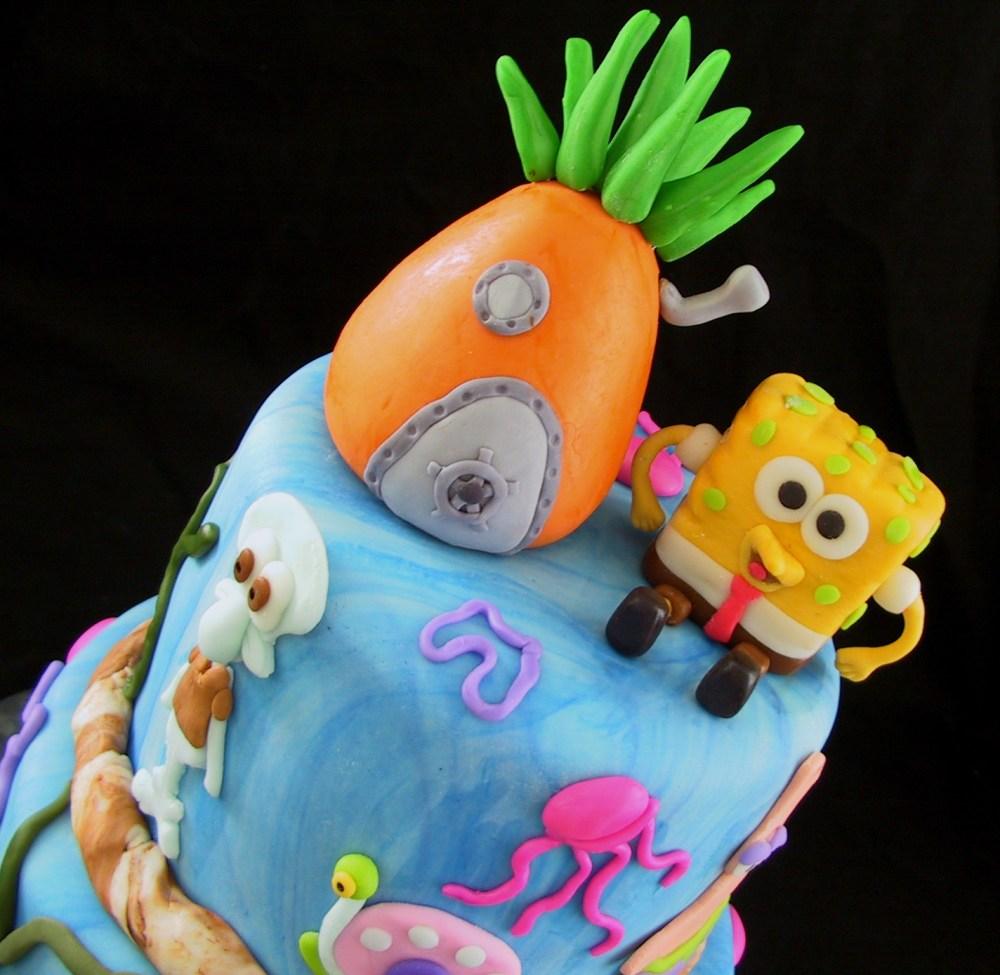 Fondant Tiered Sponge Bob Birthday Cake - Danville, KY (2/6)