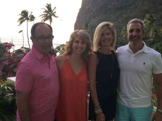 Kalisa and Laura in St. Lucia, with husbands