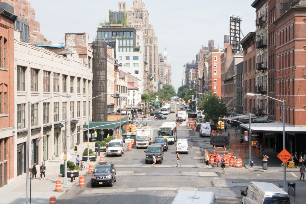 The view from the High Line down on the city.