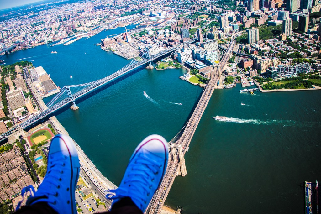 Shoe Selfie Over Manhattan and Brooklyn Bridges