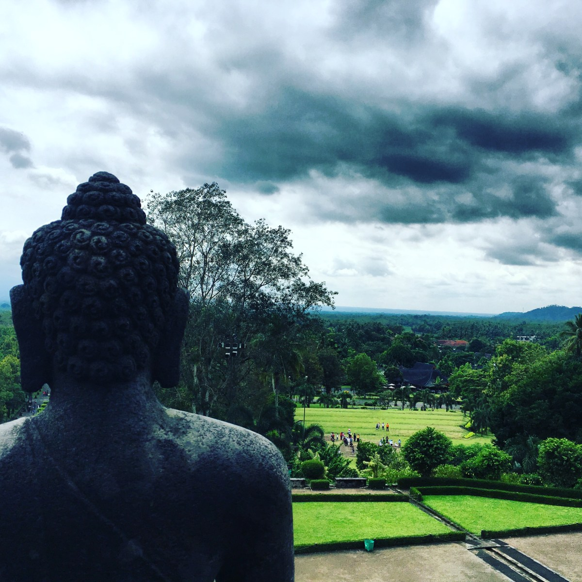 Travelling Wet Season Tips: view from borobudur temple java island indonesia