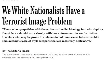 Satire: The New York Times' White Nationalist Terrorism Problem