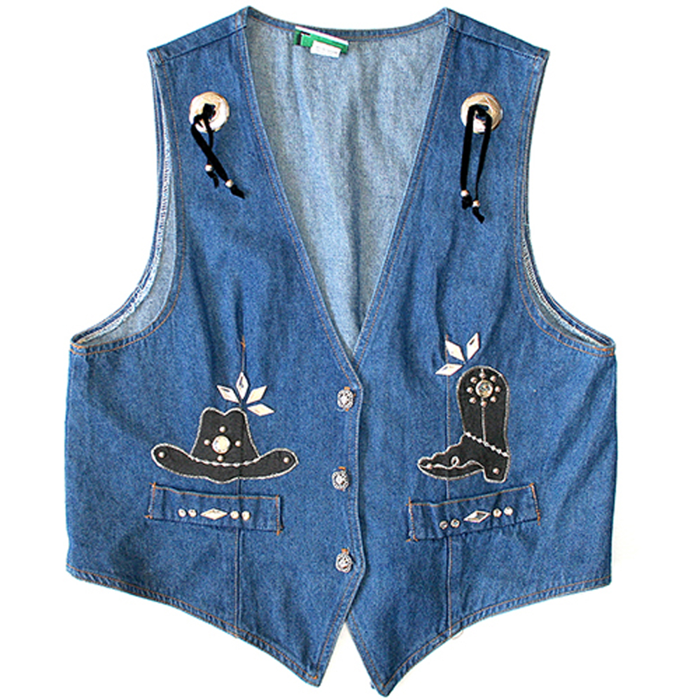 Boots N Bling Denim Ugly Vest Womens The Ugly Sweater Shop