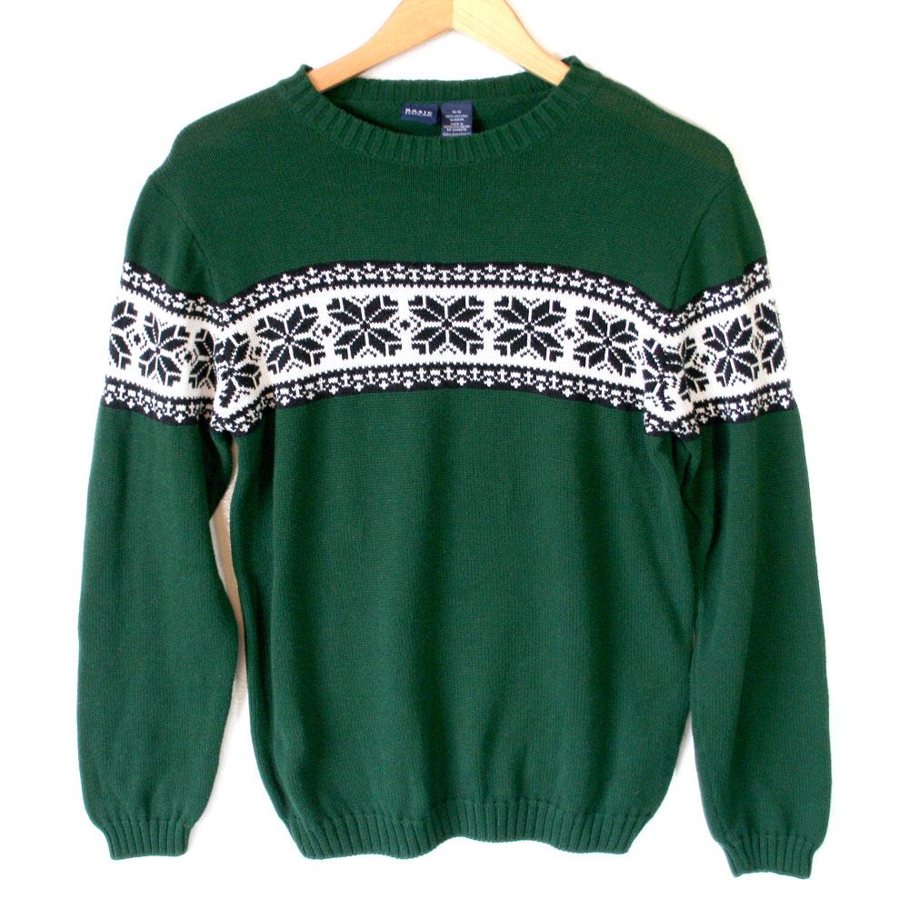 Green Nordic Snowflake Cotton Ski Ugly Sweater Kids