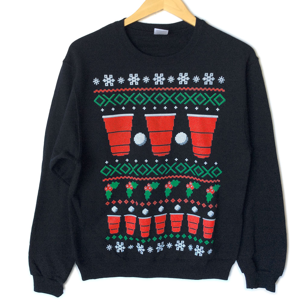 Have A Beery Christmas Beer Pong Ugly Sweater Style Tacky