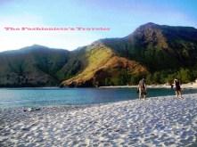 the pristine white sand beach