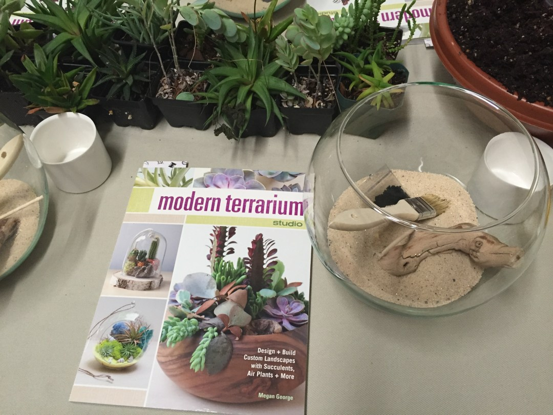 A copy of Megan George's book and terrarium supplies before starting the project