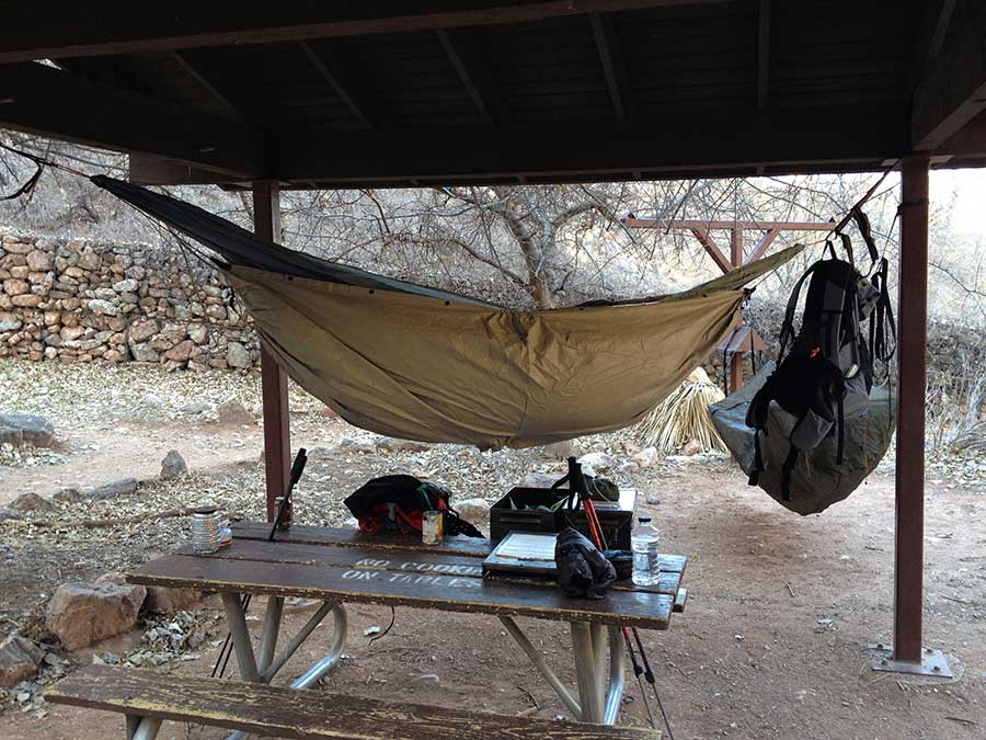 A view of my hammock under the shelter at Indian Garden.