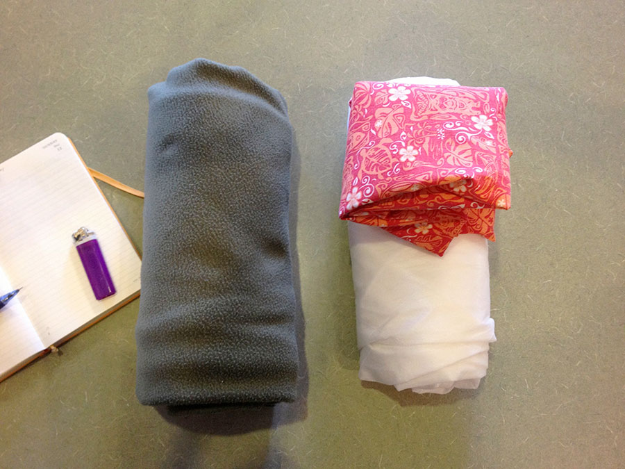 Fleece top quilt vs. an Insultex quilt and lava-lava.