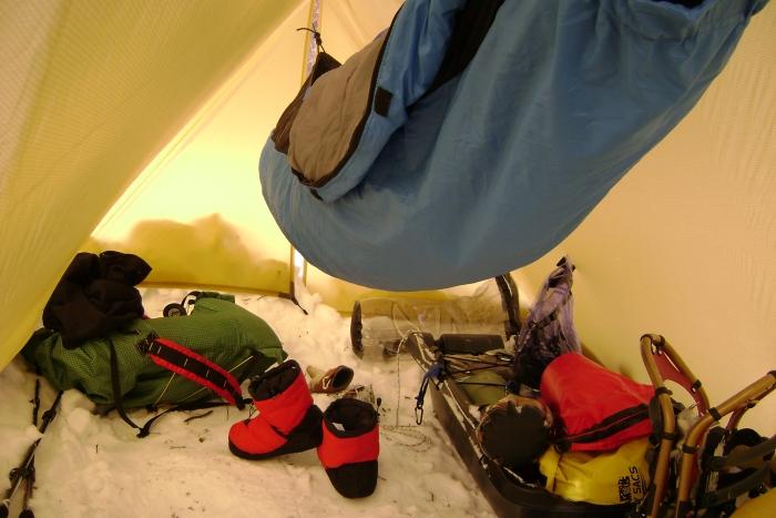Lots of vestibule room with a large winter tarp.
