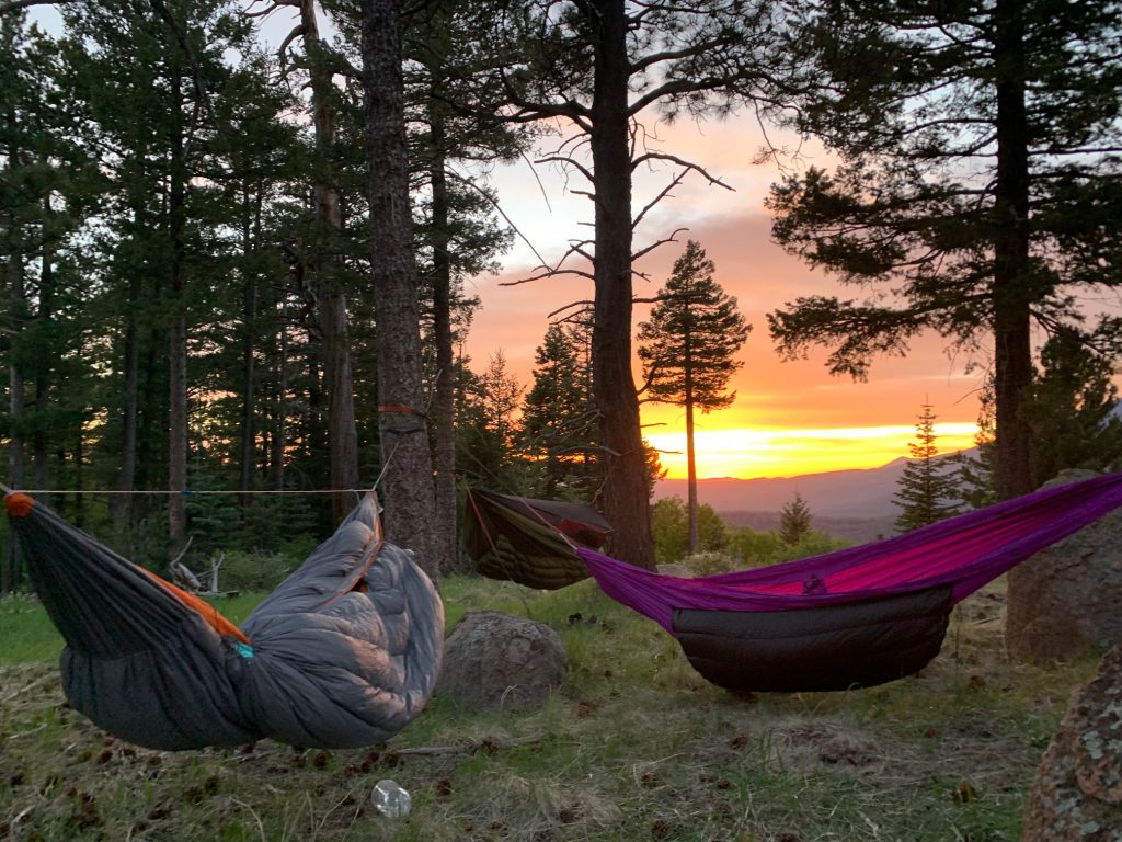 sunset on Mount Elden hammock camping