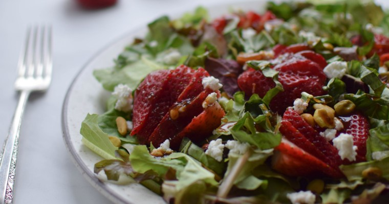 Balsamic Strawberry Basil Salad with Goat Cheese and Pistachios