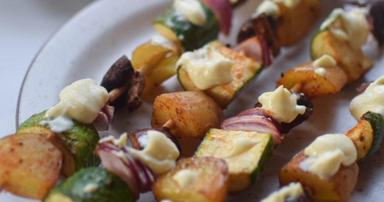 Veggie Skewers with Huancaina Sauce