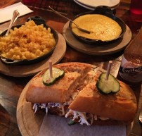 The Eagle OTR fried chicken sandwhich w/Mac & Cheese and Spoonbread