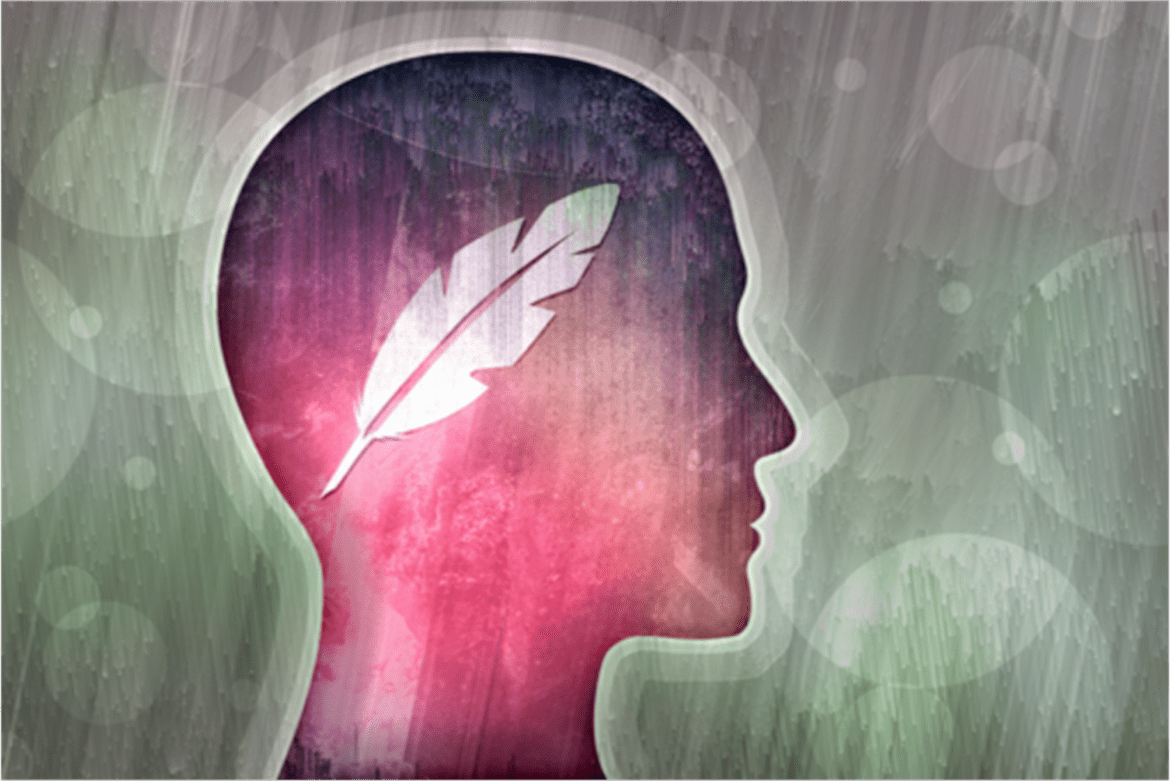 image shows the profile of a head, facing right, colored pink and purple and containing a white feather