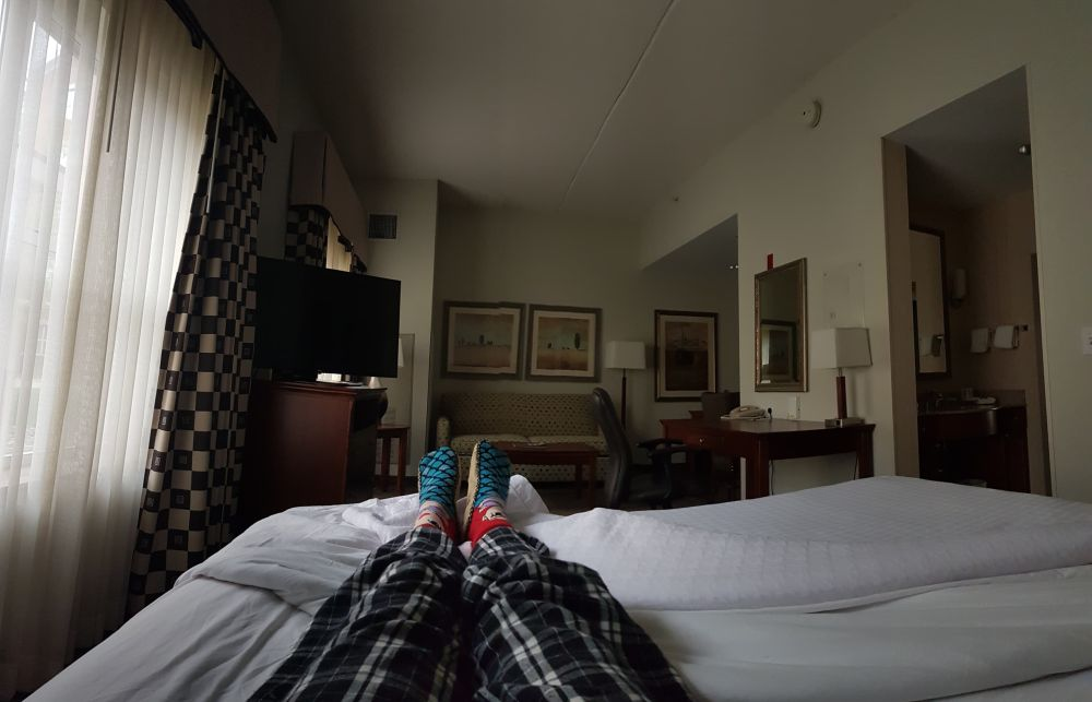 Stuck in hotel room while flaring