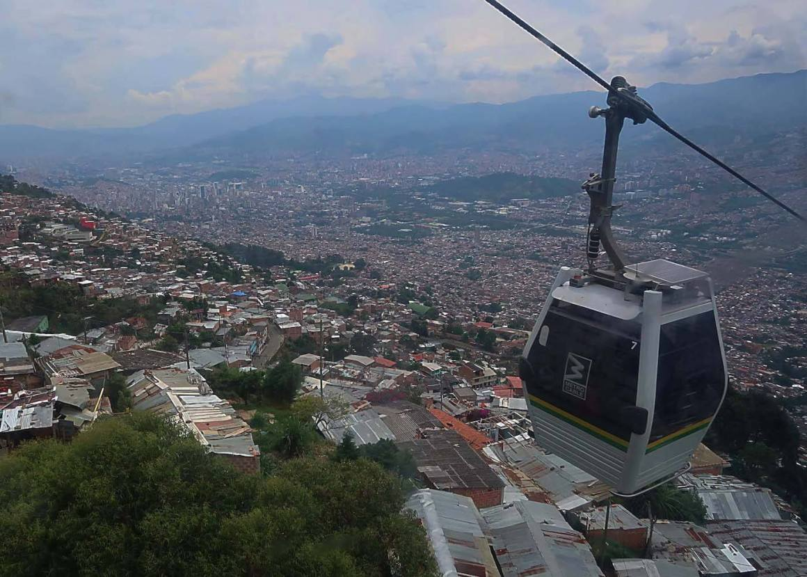 Metrocable car with view of Medellin