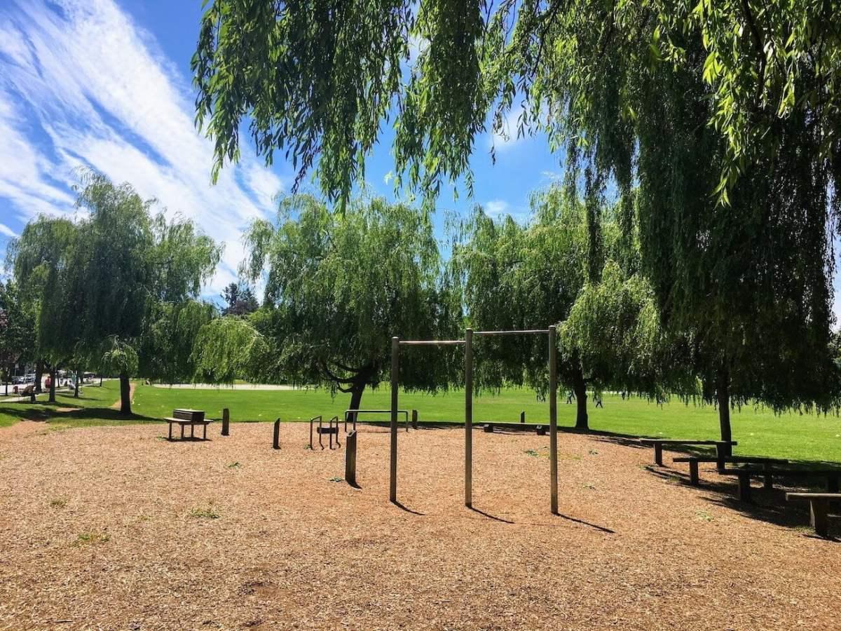 Douglas Park's calisthenics area on a beautiful June day in Vancouver
