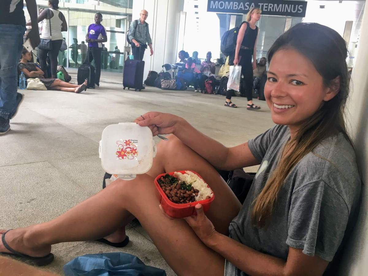 eating at mombassa's train station