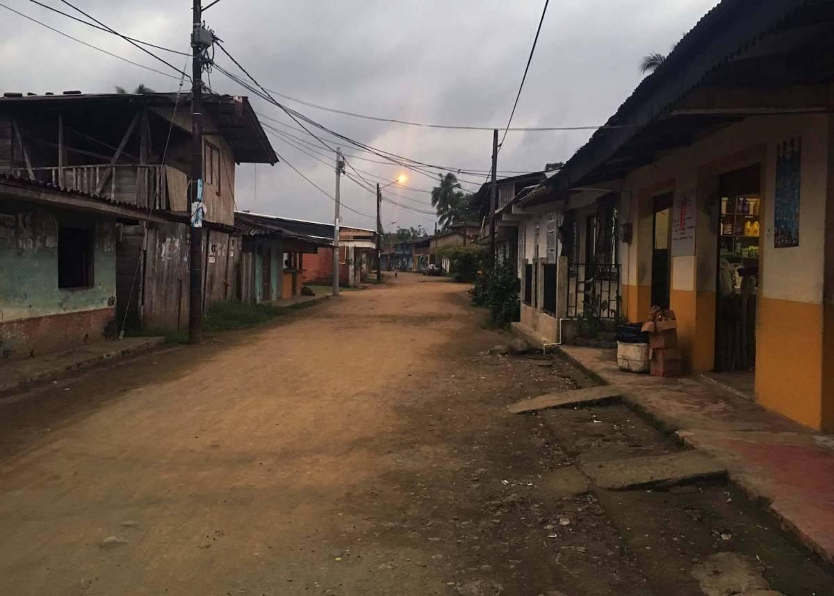 Empty evening street in El Valle, Colombia