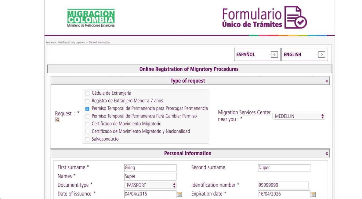 Screenshot of Colombia online visa extension application form