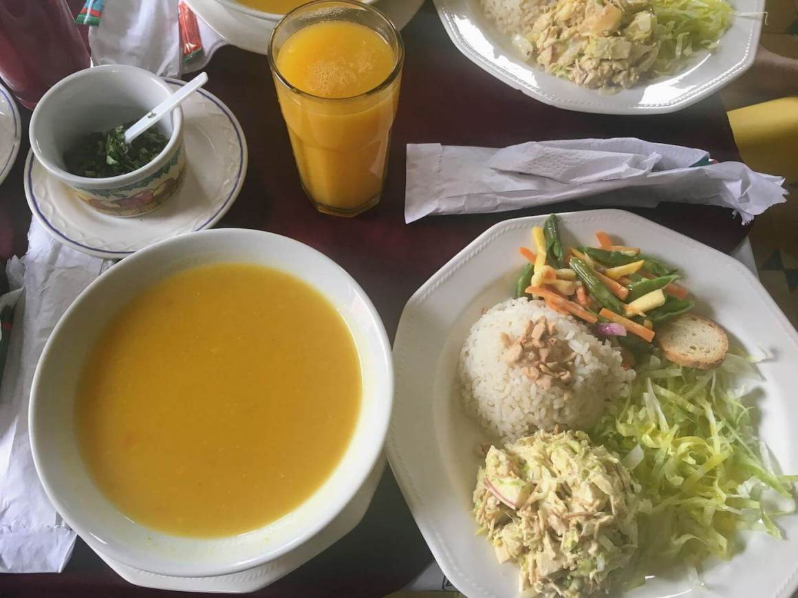 Aerial view of platano maduro lunch menu