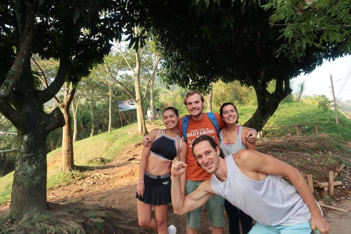group trailhead shot at cerro las tres cruces belen medellin colombia