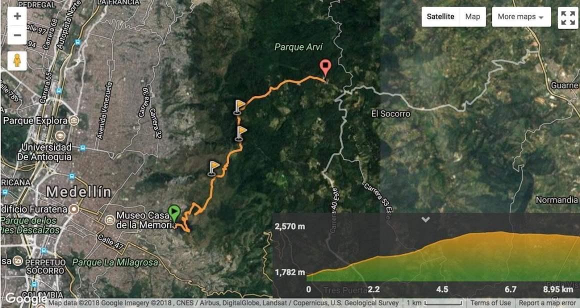 Wikiloc map of Pan de Azúcar, Parque Arví, Metrocable hike