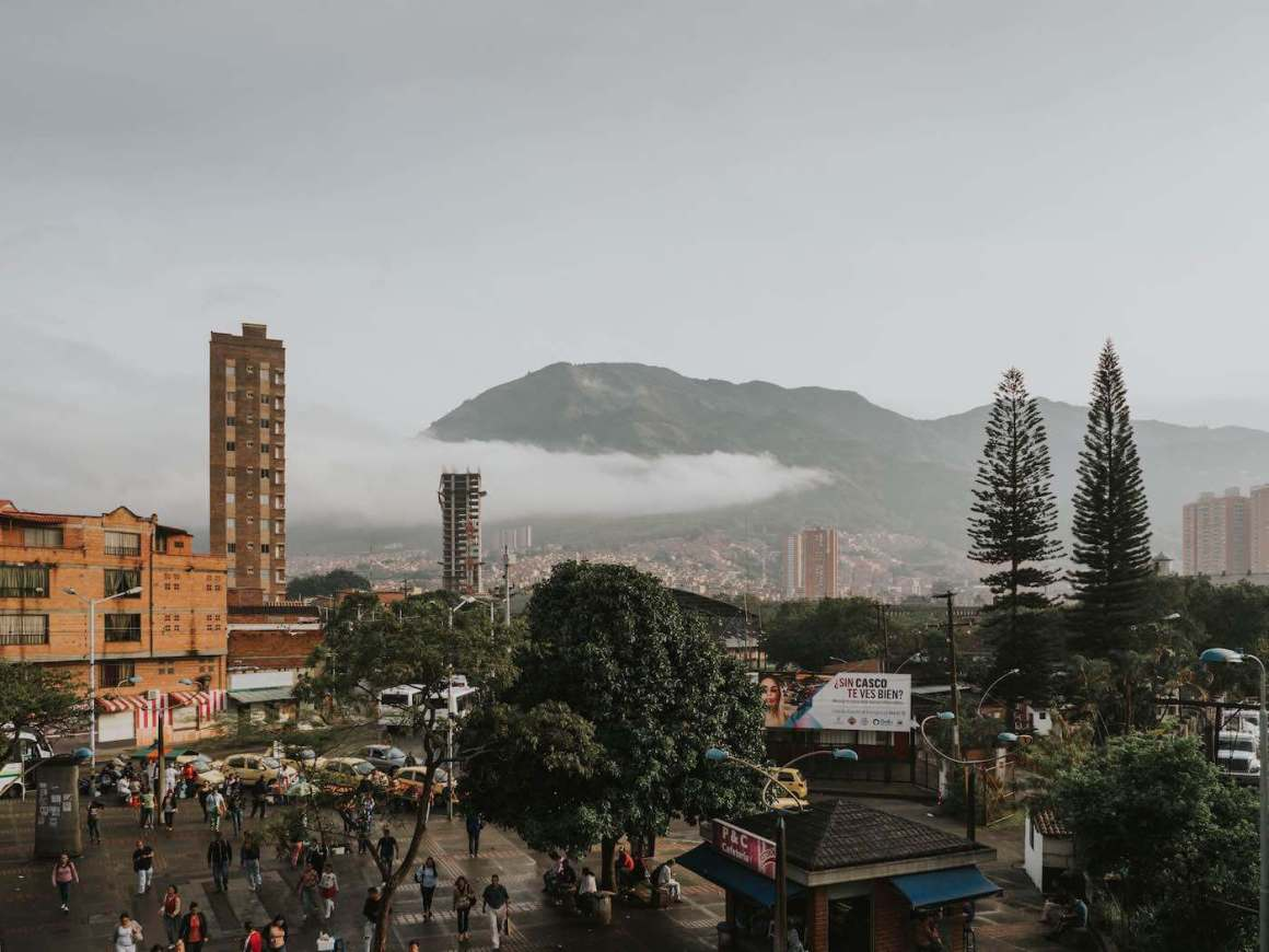 View of Bello and mountains from the metro station